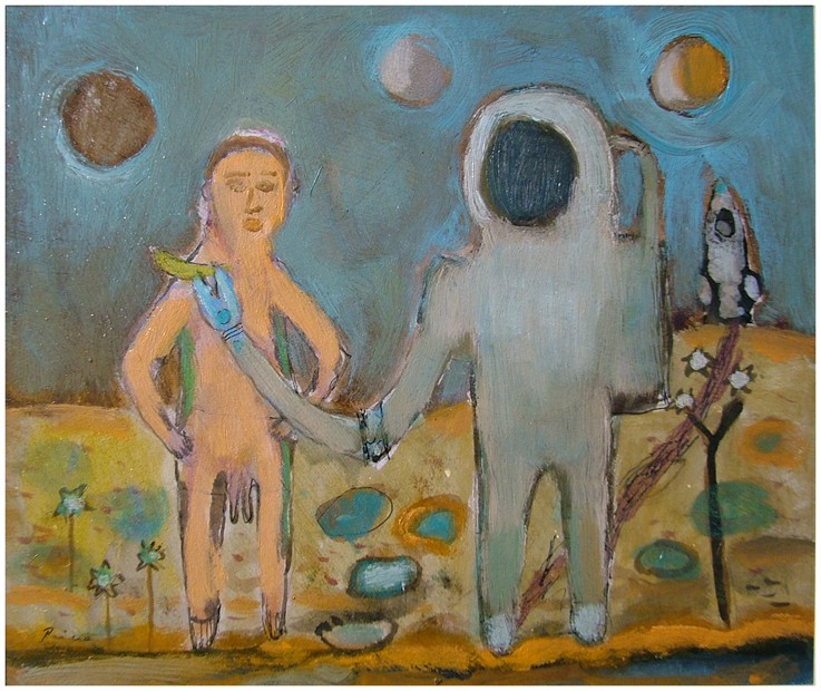 Astronaut i dvopenisno vanzemaljsko čudovište,26x22 cm, ulje na kartonu,Prodato