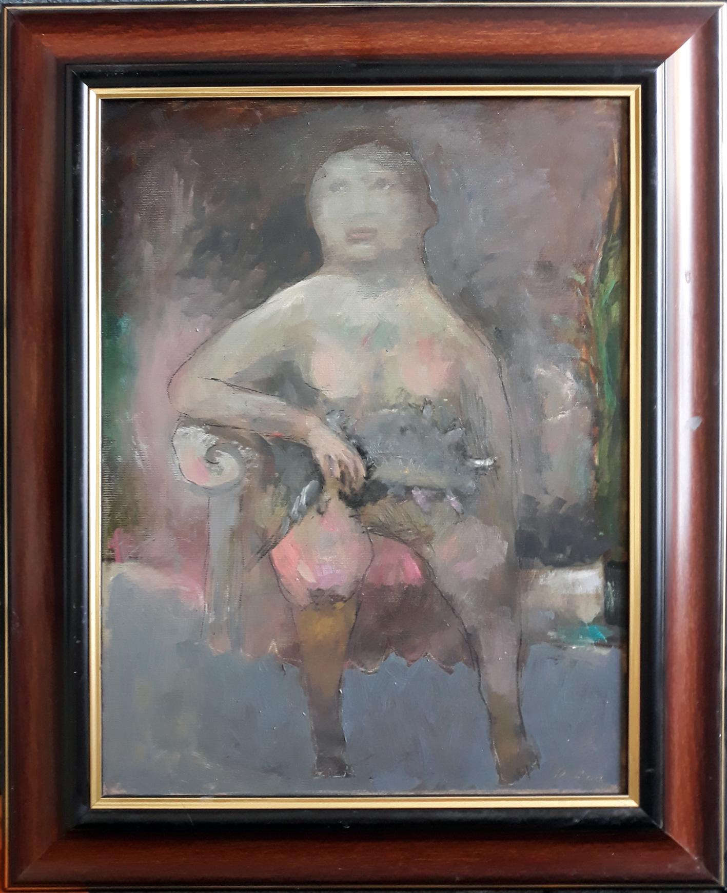 žena sa ljumimcem, ulje na platnu, 450€