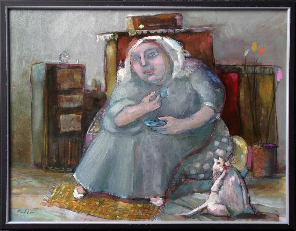 žena i mačak. 45x35 cm, ulje na platnu, prodato